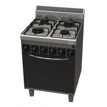 Gastro-Inox 600 Trendline gasfornuis met 4 branders met gasoven en elektrisch grillelement 103.103