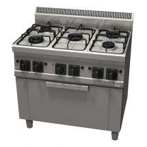 Gastro-Inox 600 Trendline gasfornuis met 5 branders met elektrische heteluchtoven en grillelement 103.104