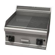 Gastro-Inox 600 Trendline gasbakplaat met half gladde & half geribbelde plaat 103.128