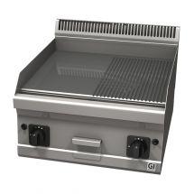 Gastro-Inox 600 Trendline gasbakplaat met half gladde & half geribbelde verchroomde plaat 103.129
