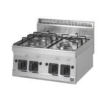 Gastro-Inox 600 Trendline gaskooktoestel 4 branders, 2x3,3kW & 2x4kW 103.102