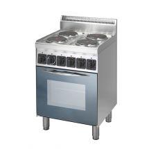 Gastro-Inox 600 Trendline elektrisch fornuis met 4 kookplaten en heteluchtoven 103.105