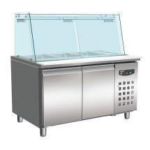 Combisteel 700 koelwerkbank glas recht 2 deuren 3x 1/1 + 3x 1/6 gn pan 7950.0422