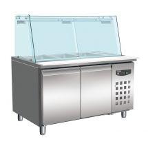 Combisteel Koelwerkbank glas recht 2 deuren 4x 1/1 gn pan 7950.0420