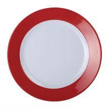 Kristallon Gala melamine bord met rode rand 26cm DE602