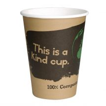 Fiesta Green composteerbare koffiebekers enkelwandig bruin 34cl (1000 stuks) (1000 stuks) DS058