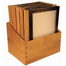 Securit menumappen set met houten box A4 zwart (20 stuks) H759