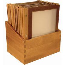 Securit menumappen set met houten box A4 bruin (20 stuks) H762