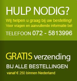 Hulp nodig? Bel 072-5813996. Gratis verzending boven € 250 in Nederland.